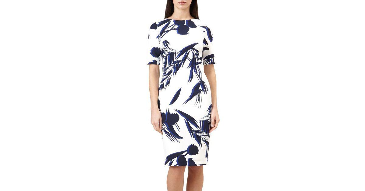 de8cd027fb Hobbs Astraea Leaf Print Dress in Blue - Lyst