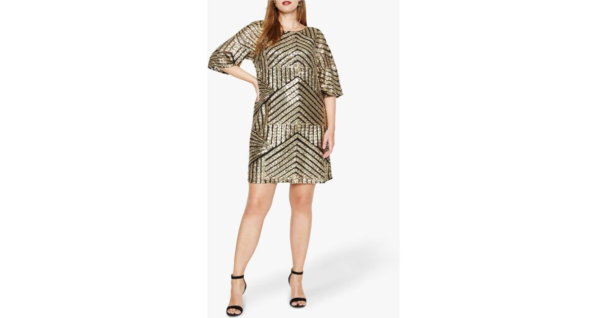 f1c369a174 Studio 8 Gillian Chevron Sequin Detail Tunic Dress in Black - Save 16% -  Lyst