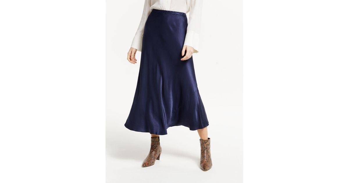 12fe4289f4 Finery London Alberte Satin Skirt in Blue - Lyst