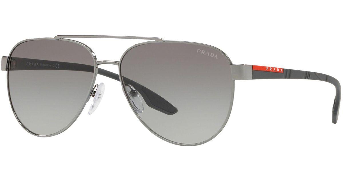 cb4b2c21864 Prada Linea Rossa Ps 54ts Men s Aviator Sunglasses in Gray for Men - Lyst