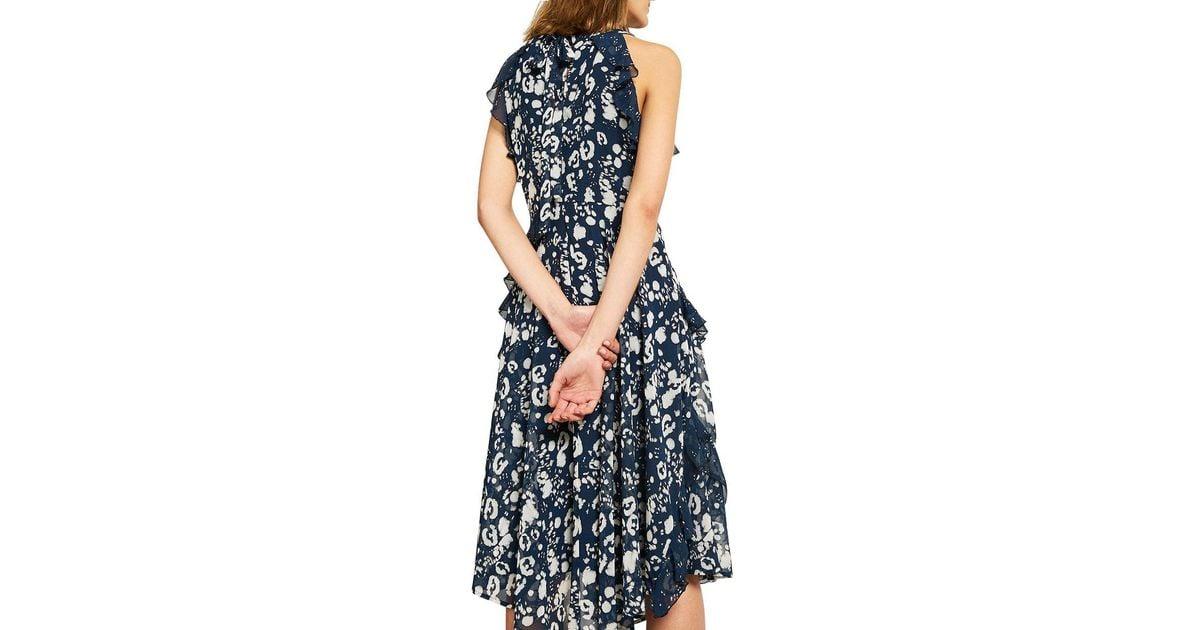 best sneakers cheap for sale outlet online John Lewis Blue Mint Velvet Louise Printed Ruffle Dress