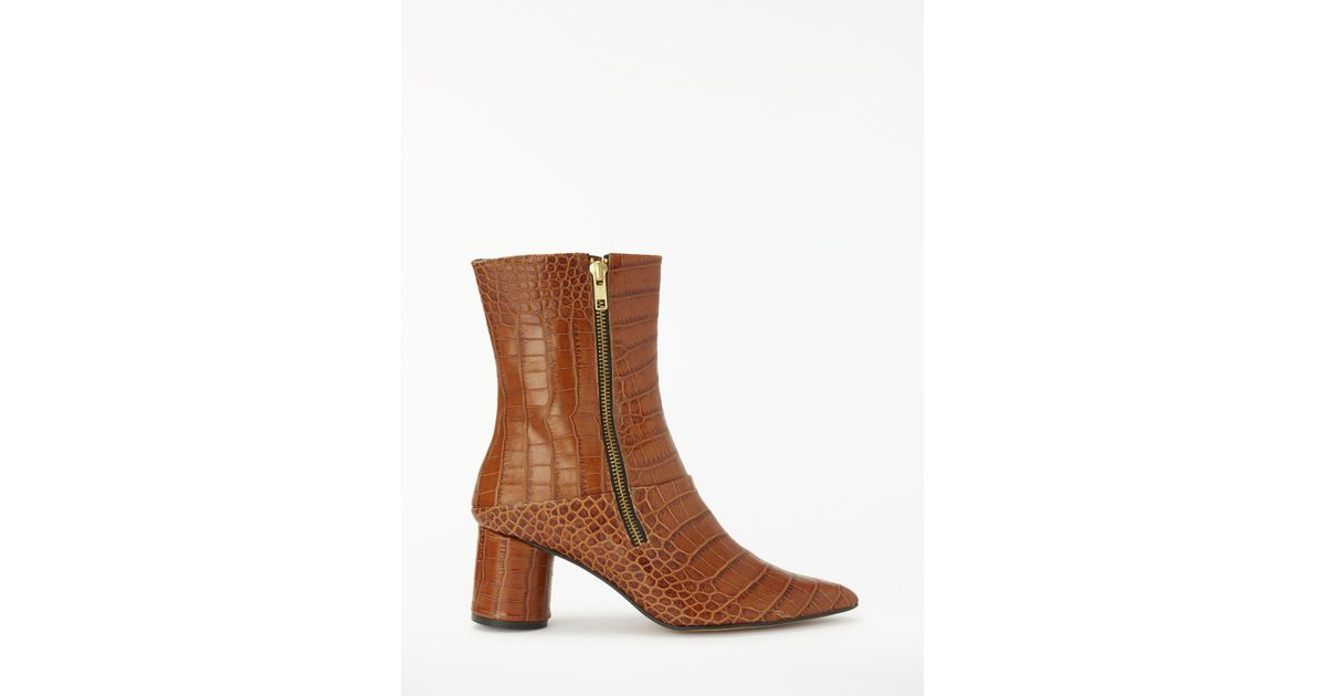 3e3b66b6e01c Finery London Emilia Block Heel Ankle Boots in Brown - Lyst