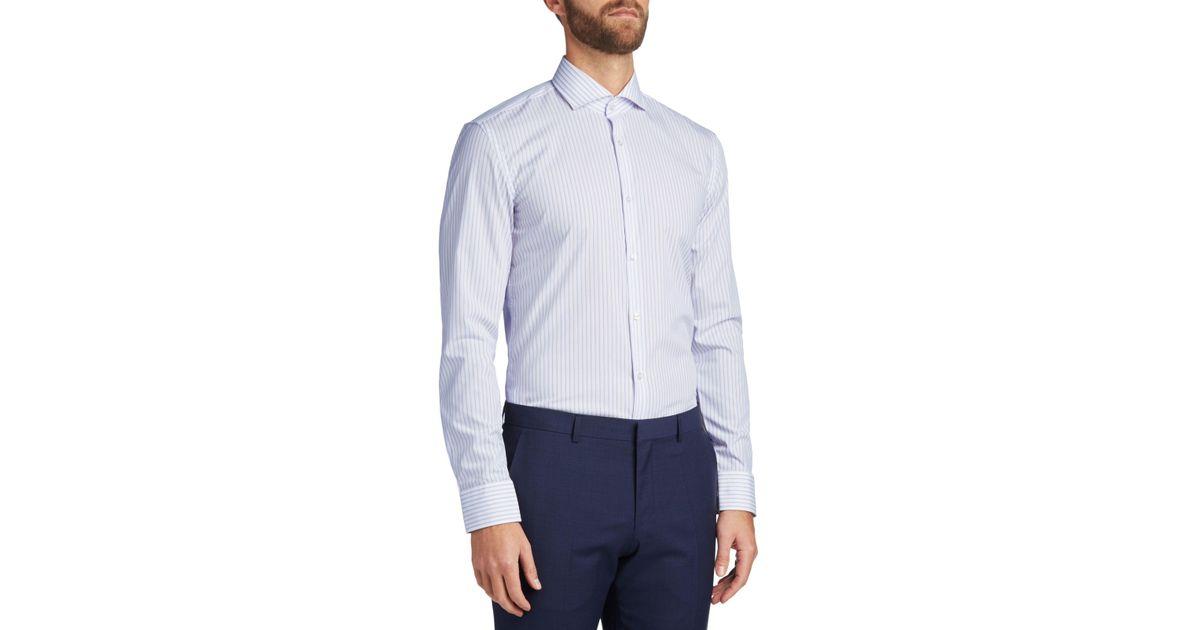 00982ab7e BOSS Hugo By C-jason Easy Iron Cotton Stripe Slim Fit Shirt in Blue for Men  - Lyst