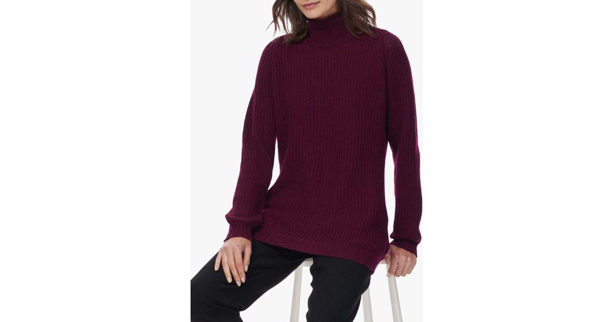 b3d692683d0 Brora Purple Cashmere Ribbed Polo Neck Jumper