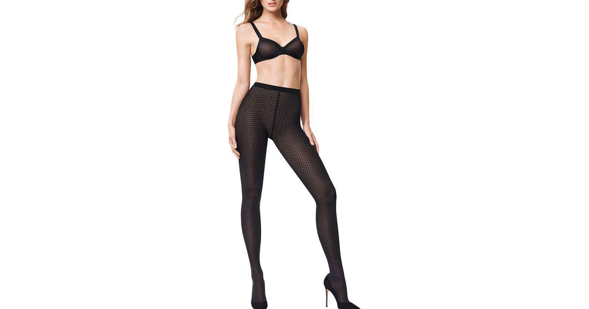 ea7c971ee Wolford Tess Patterned Opaque Tights in Black - Lyst