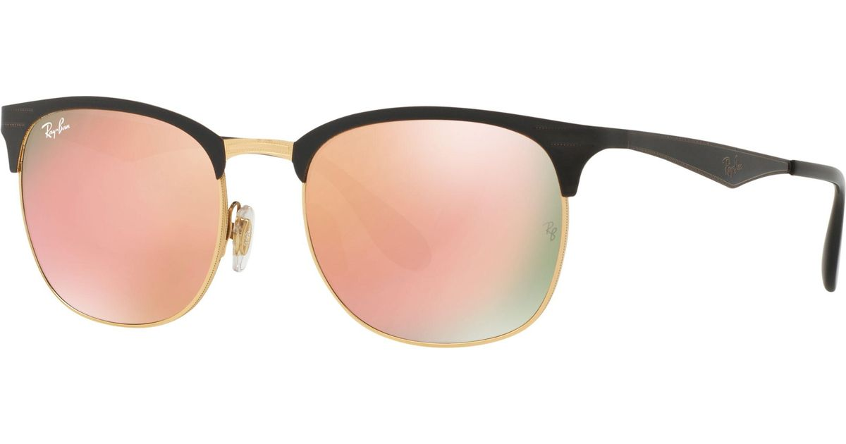 Ray-Ban Rb3538 Half Frame Square Sunglasses in Black - Lyst