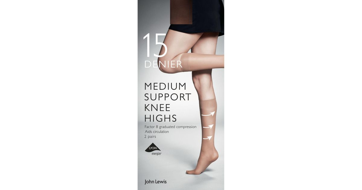 404b283def5 John Lewis 7 Denier Medium Support Knee High Socks - Lyst