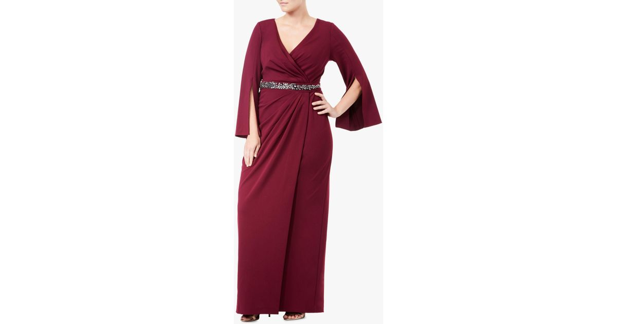 c16afb01287 Adrianna Papell Plus Size Long Split Sleeve Evening Dress in Red - Lyst
