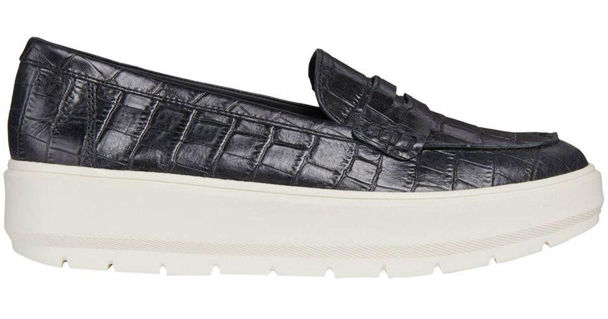Confinar sobrino herramienta  Geox Leather Kaula Slip On Flatform Loafers in Black Leather (Black) - Lyst
