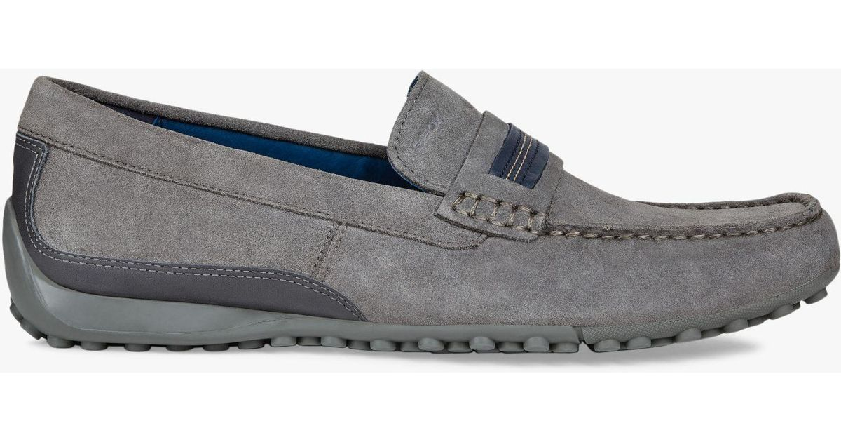 41028ead1f53c Geox Snake Suede Moccasin Shoes in Gray for Men - Lyst