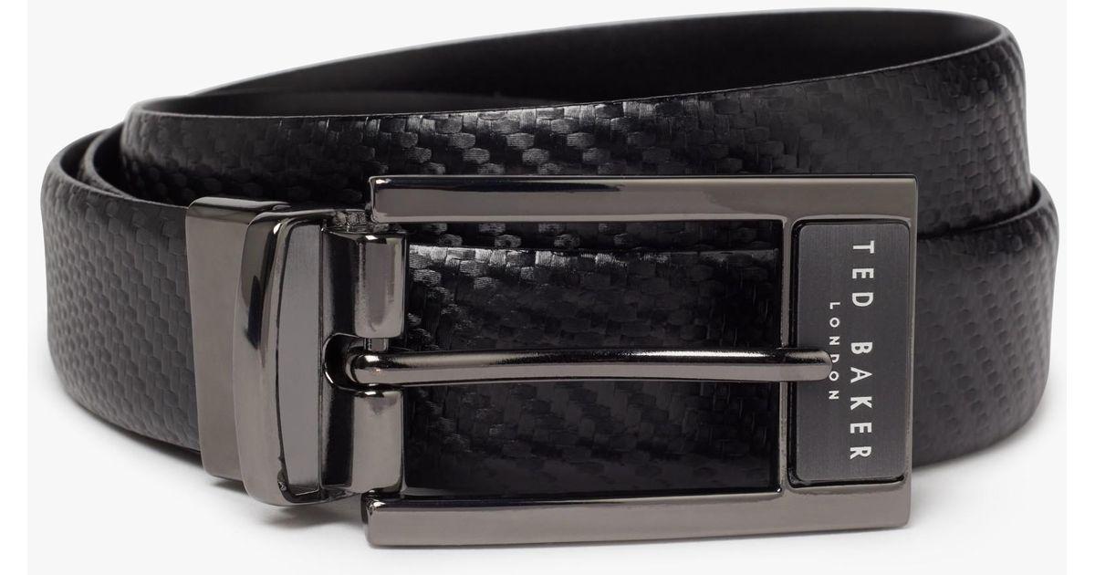 4c08d9f5b9312 Ted Baker Hibisis Reversible Leather Belt in Black for Men - Lyst