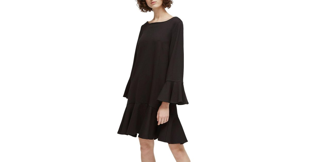 4f568baedb5 French Connection Matuku Lula Bell Sleeve Jersey Dress in Black - Lyst