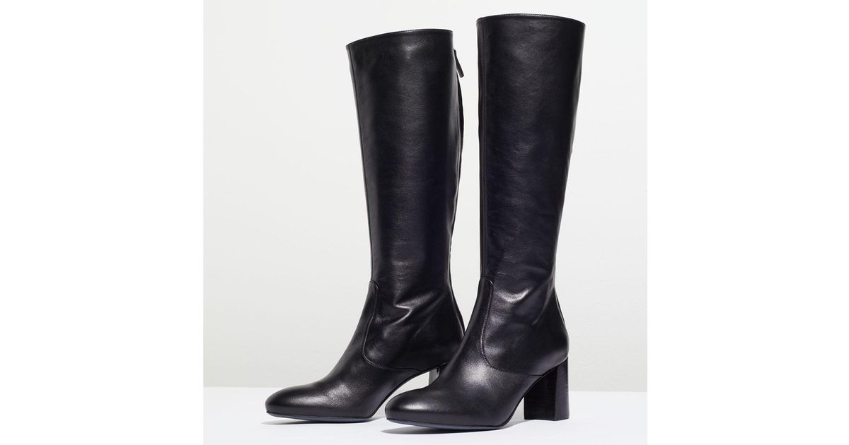 882132a4e46 Jigsaw Black Madsen Block Heeled Knee High Boots