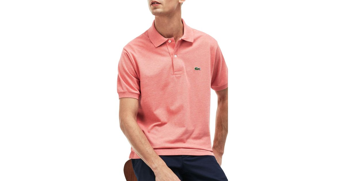 3a6c05379b52a Lacoste Classic Regular Fit Marl Short Sleeve Polo Shirt in Pink for Men -  Lyst