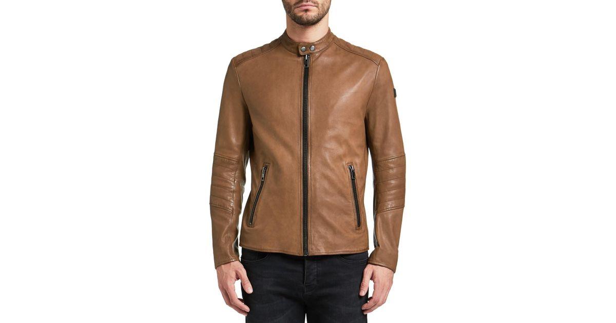 167e3c5ed75 BOSS Boss Orange Jeeper Slim Fit Leather Jacket in Brown for Men - Lyst