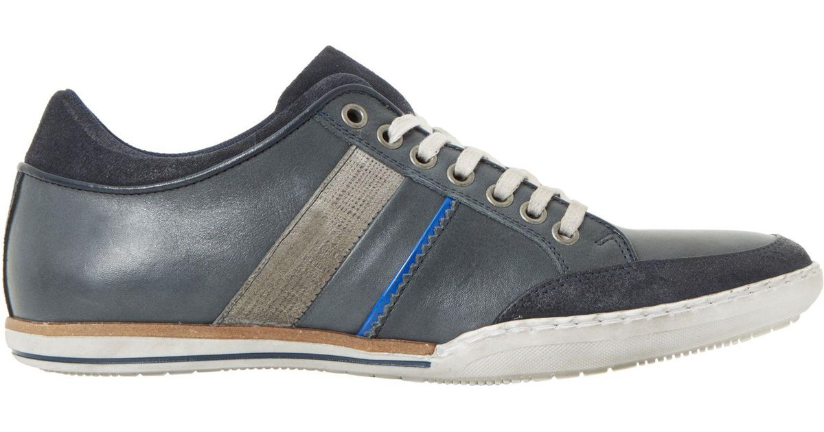 Dune Leather Tito Trainers in Navy