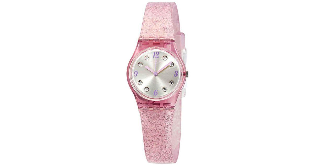 Swatch Rose Glistar Grey Dial Pink Glitter Silicone Leadies Watch