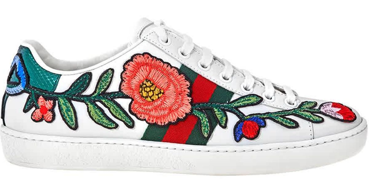 Gucci Ladies Ace Embroidered Flower