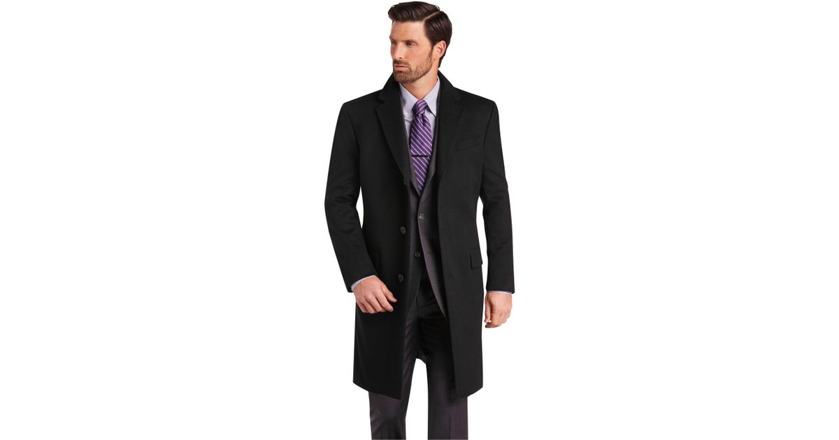 44e66400b9c A. Bank Reserve Collection Tailored Fit Cashmere Topcoat Clearance in Black  for Men