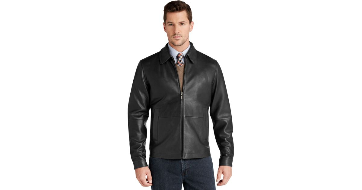 jos a bank signature bomber leather jacket in black for
