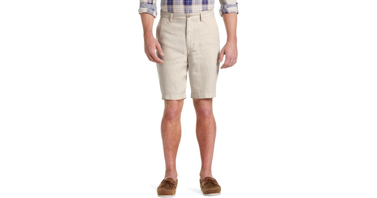 jos a bank joseph abboud tailored fit linen shorts in
