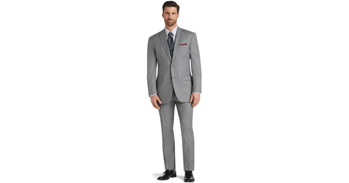 77e25c080d51 Men's Gray Traveler Collection Traditional Fit Sharkskin Suit - Big & Tall