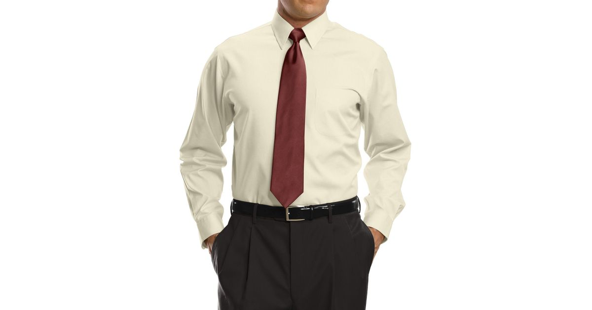 Lyst jos a bank traveler collection tailored fit point for Dress shirts for big and tall