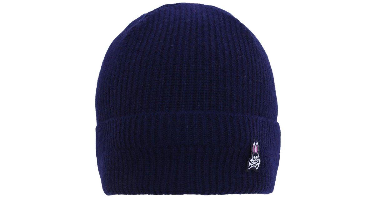 0d1e7a4ba8e Lyst - Psycho Bunny Lambswool Watchman Beanie Hat in Blue for Men