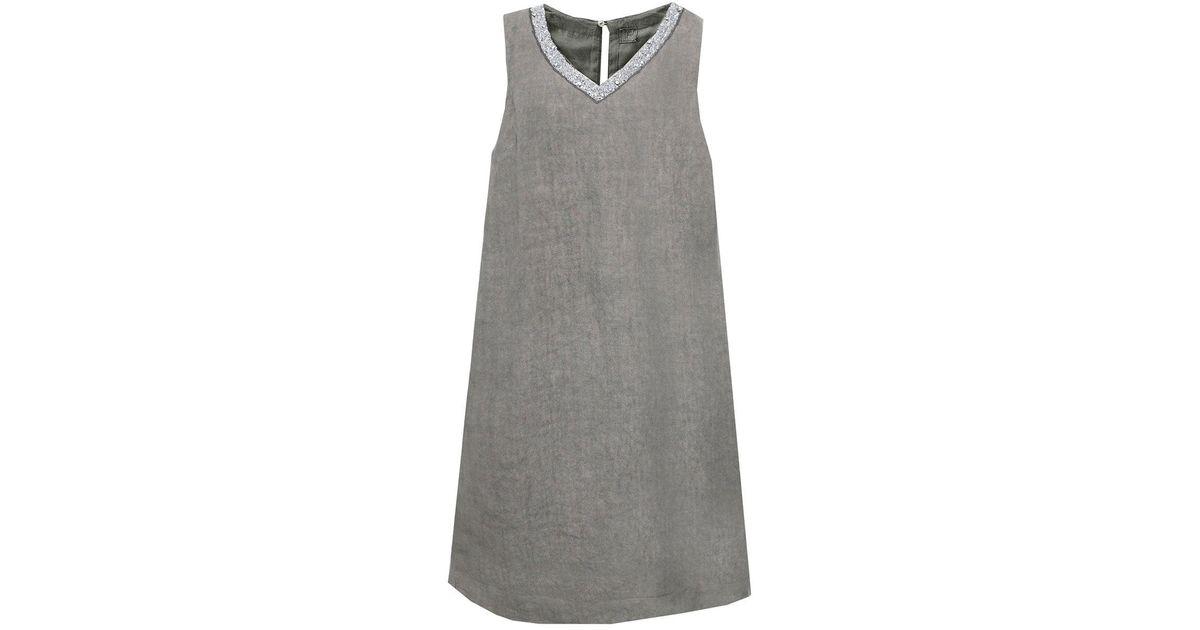 34437f00e9 120% Lino Beaded V-neck Tunic Dress in White - Lyst