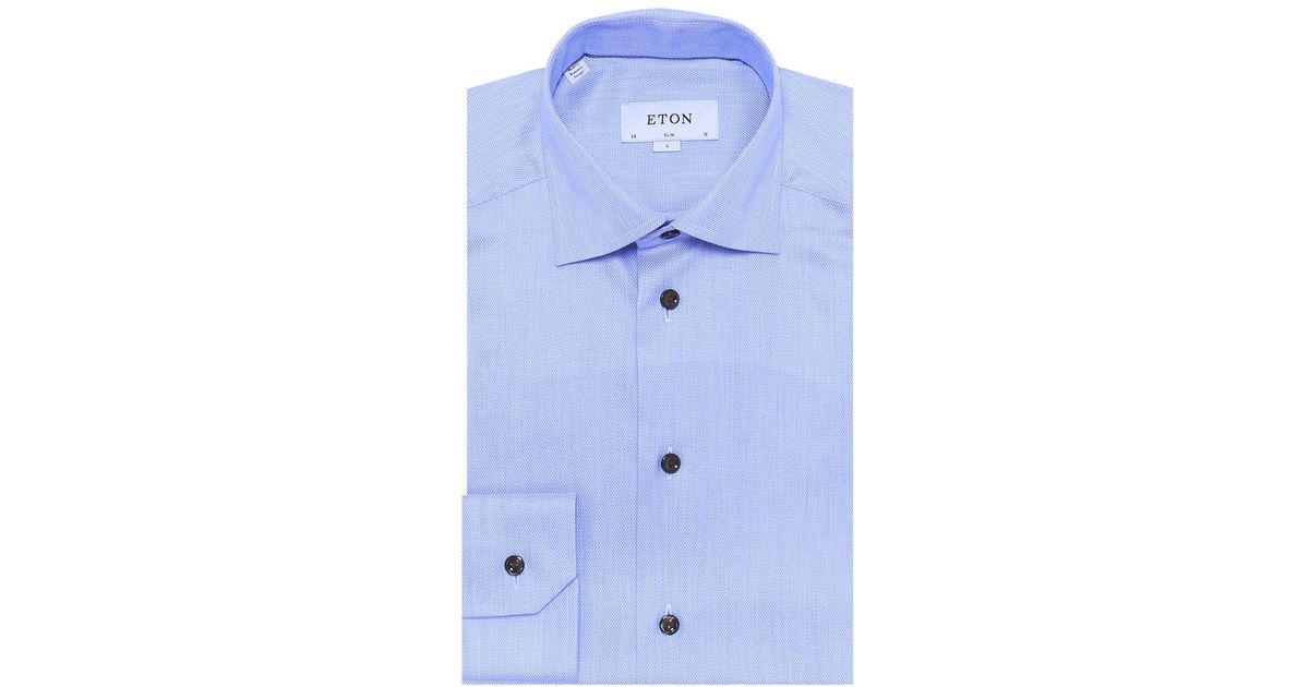 fe5206a26385 Eton Of Sweden Slim Fit Signature Twill Shirt in Blue for Men - Lyst