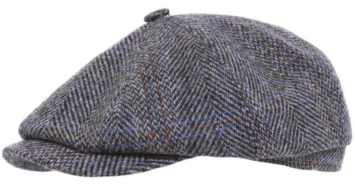 40277f8f3608ad Stetson Hatteras Harris Tweed Cap in Gray for Men - Lyst