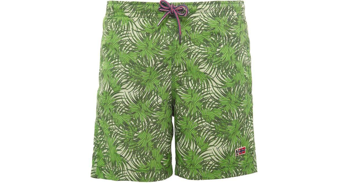 7344cb3640 Napapijri Vail Fantasy Swim Shorts in Green for Men - Lyst