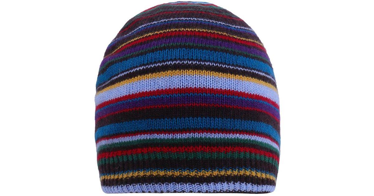 d397e0d88b6 Lyst - Paul Smith Cashmere Blend Striped Beanie Hat in Blue