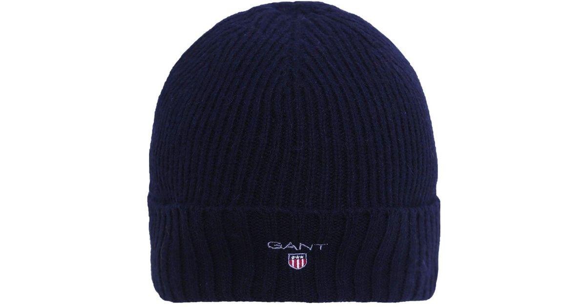 GANT Fleece Lined Beanie Hat in Blue for Men - Lyst 4ce0e0332e2