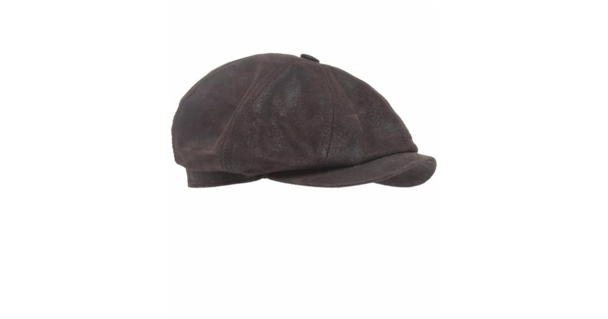 Stetson Hatteras Leather Cap in Brown for Men - Lyst f91ad88d2f7