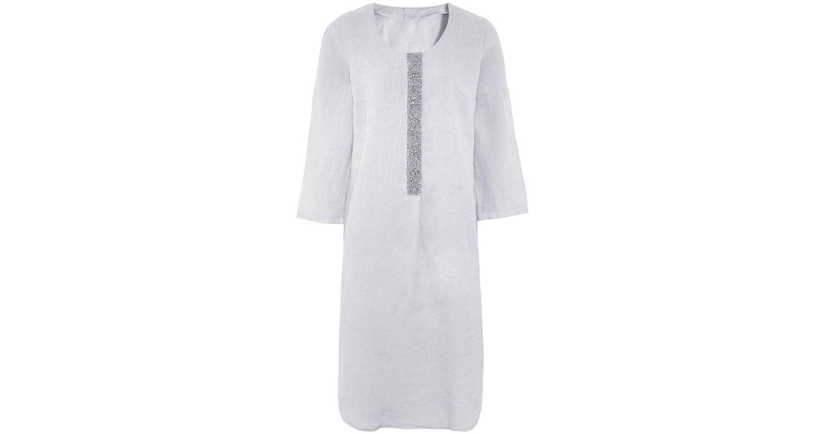 870832df787 120% Lino Linen Tunic Dress in Gray - Lyst