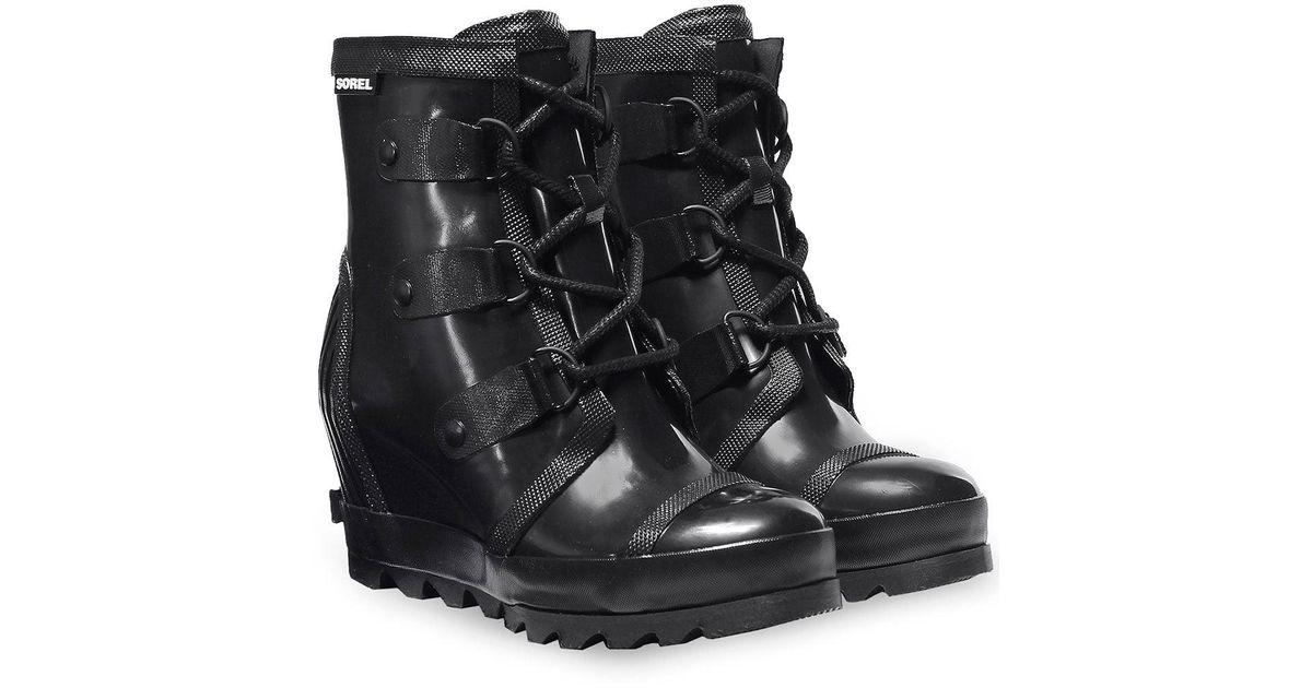 6f563063cb4 Lyst Sorel Rubber Joan Wedge Rain Boots In Black