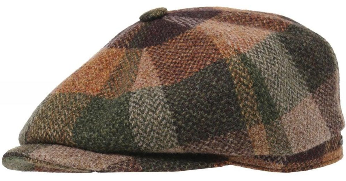 7cc193c56e9 Lyst - Stetson Lambswool Check Hatteras Cap in Brown for Men