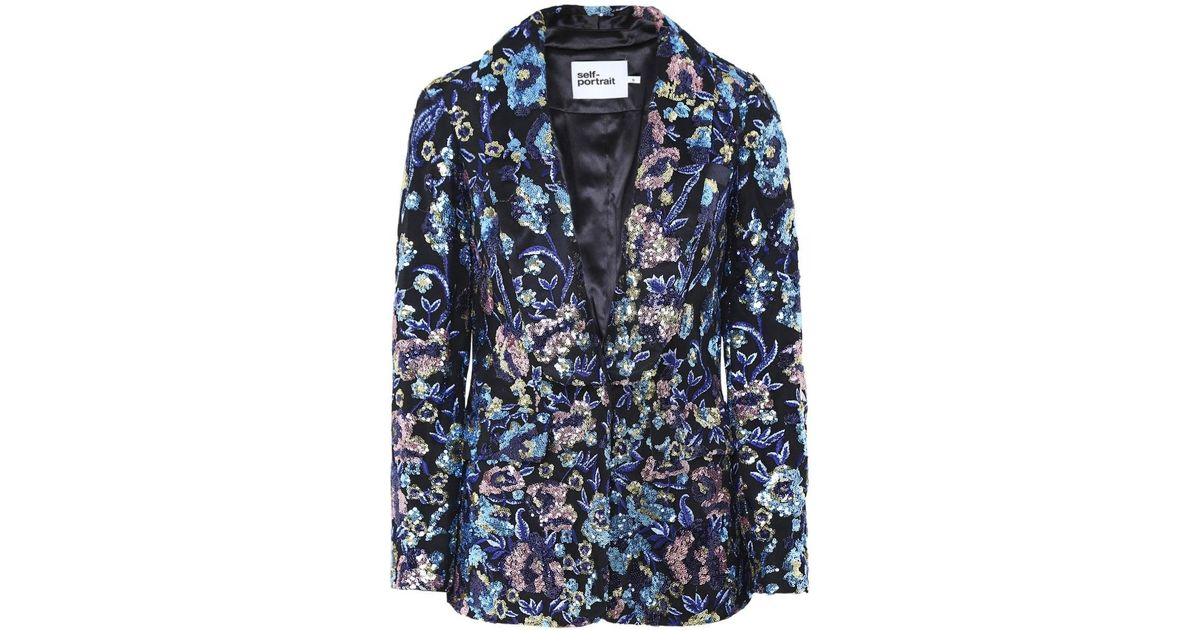 5db2fcff5d10 Self-Portrait Floral Embroidered Blazer in Blue - Save 25% - Lyst