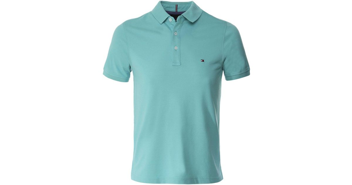 Tommy Hilfiger Light Blue Regular Fit Piqué Polo Shirt