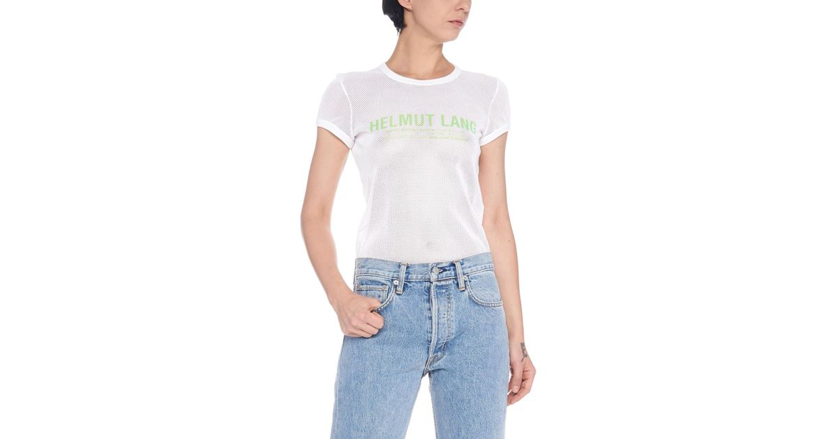 dce5632c7 Lyst - Helmut Lang  mesh Logo Baby Tee  T-shirt in White