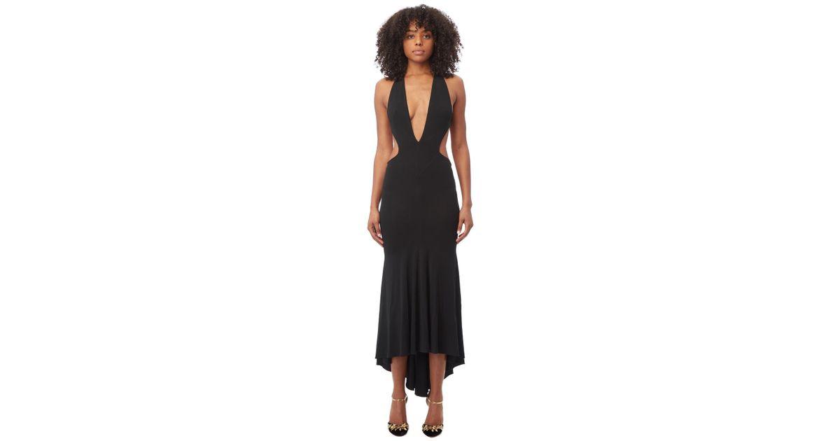 Lyst Alexandre Vauthier Deep V Neck Black Maxi Dress In Black