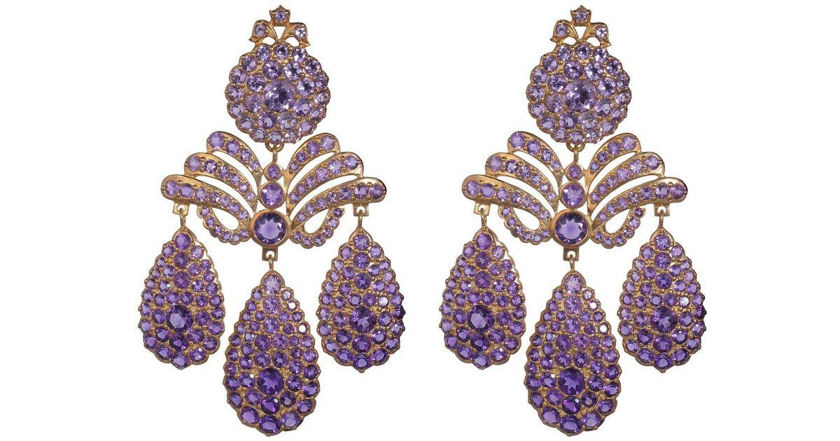 Lyst sylvie corbelin amethyst chandelier earrings in metallic mozeypictures Gallery