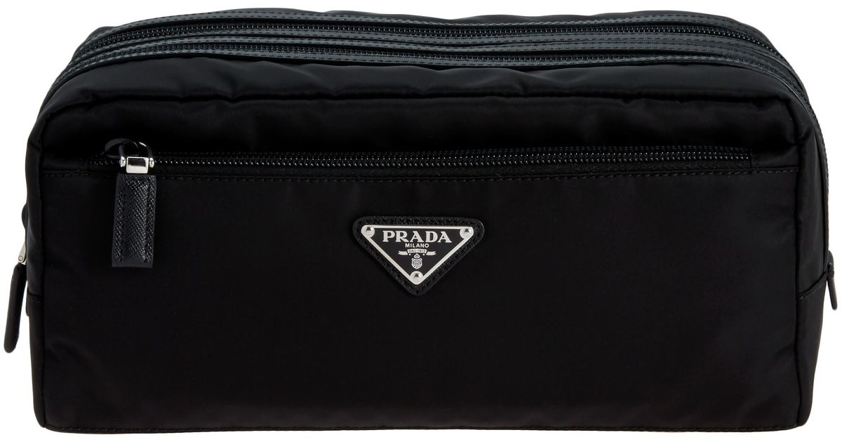 Lyst - Prada Double Zipper Black Leather Dopp Kit in Black for Men 23e8b59b972a4