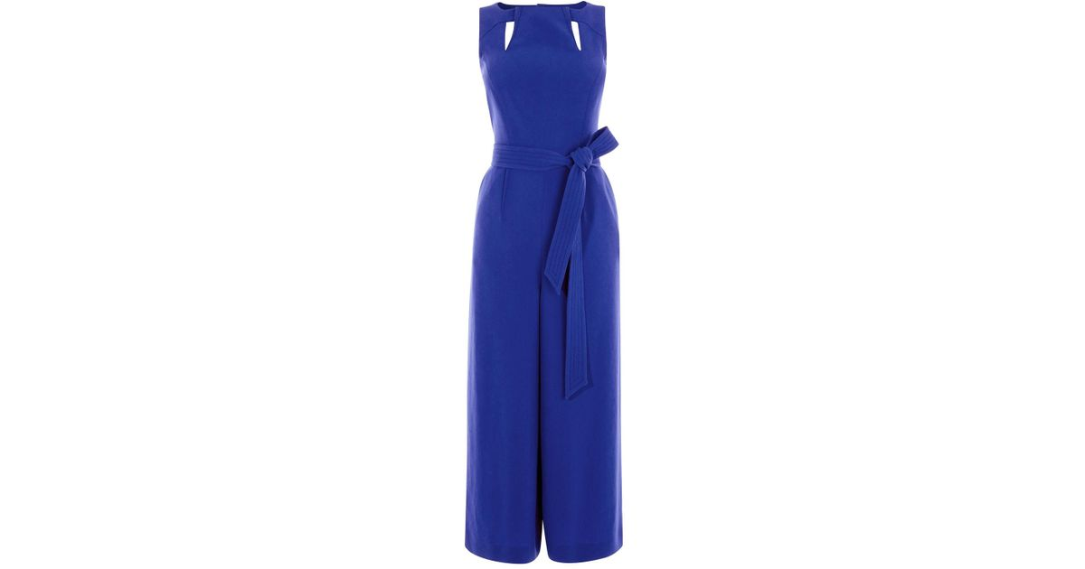 30ec6d31253 Karen Millen Crepe Sleeveless Jumpsuit - Blue in Blue - Lyst