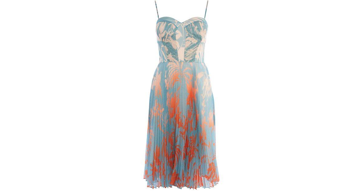 12724e80e93 Karen Millen Pleated Midi Dress in Blue - Lyst