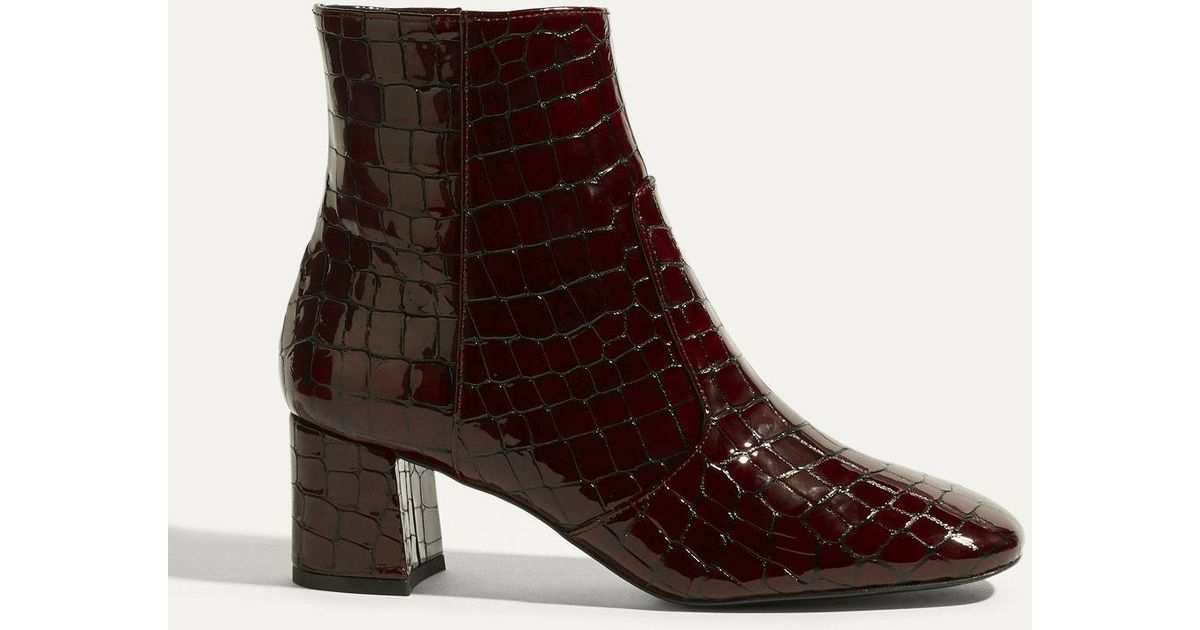 af98dbad705c Lyst - Karen Millen Leather Crocodile Ankle Boots - Dark Red in Red