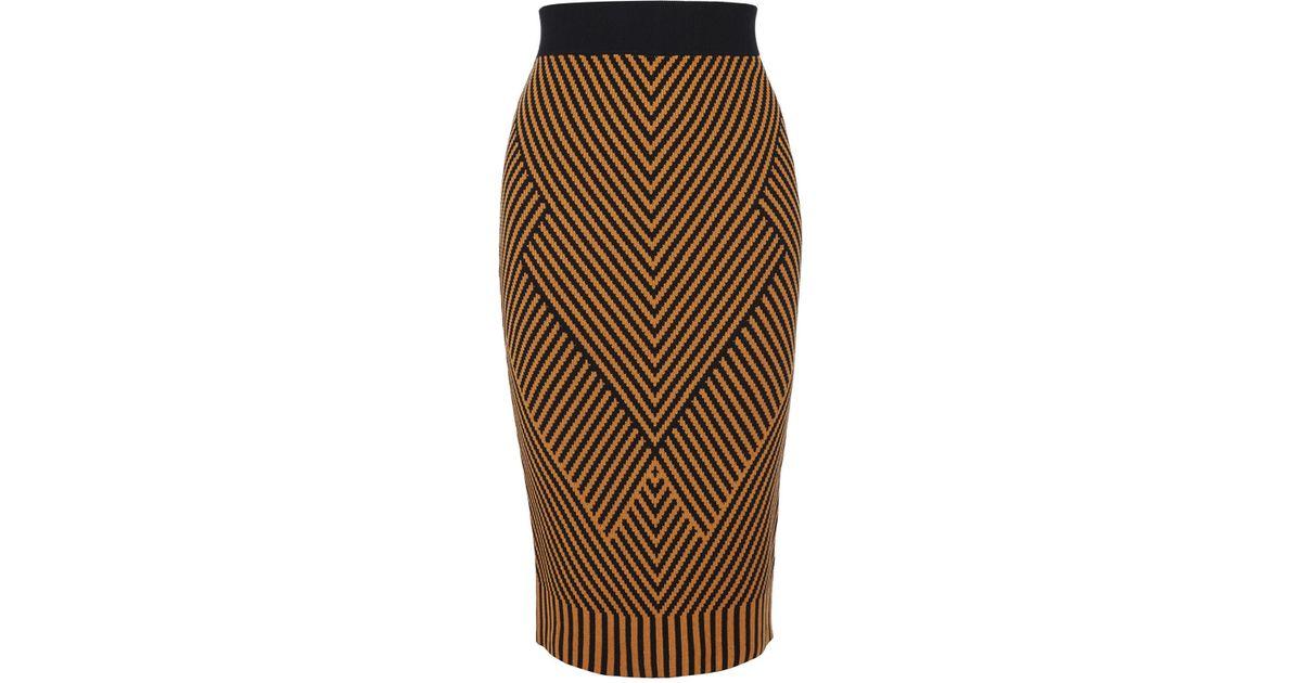8096d63e6e Karen Millen Contrast Knitted Pencil Skirt - Orange/multi in Orange - Lyst