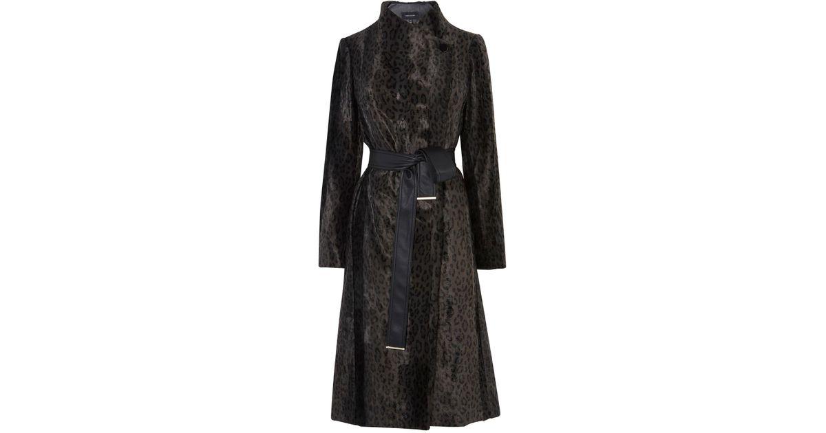 e88543e9de75 Karen Millen Leopard Tailored Wrap Coat in Black - Lyst