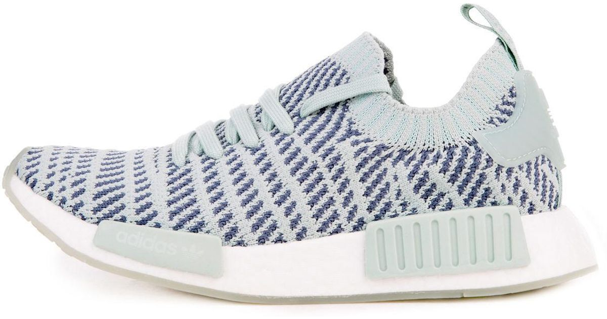 379bd448a59a4 Lyst - adidas The Women s Nmd R1 Stlt Primeknit In Ash Green  Raw Steel And  White in White